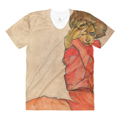 Egon Schiele - Kneeling Woman in Orange-Red Dress - Sublimation women's crew neck t-shirt - Vinteja Corporation