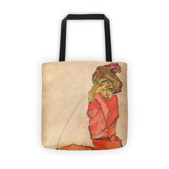 Egon Schiele - Kneeling Woman in Orange-Red Dress - Tote bag - Vinteja Corporation