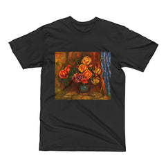 Still life roses before a blue curtain by Renoir - Men's Short Sleeve T-Shirt - Vinteja Corporation