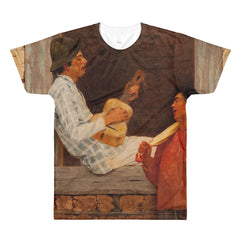 Almeida Junior - The Guitar Player - Sublimation men's crewneck t-shirt - Vinteja Corporation