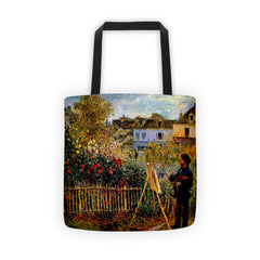 Monet painting in his garden in Argenteuil - Tote bag - Vinteja Corporation