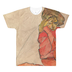 Egon Schiele - Kneeling Woman in Orange-Red Dress - Sublimation men's crewneck t-shirt - Vinteja Corporation
