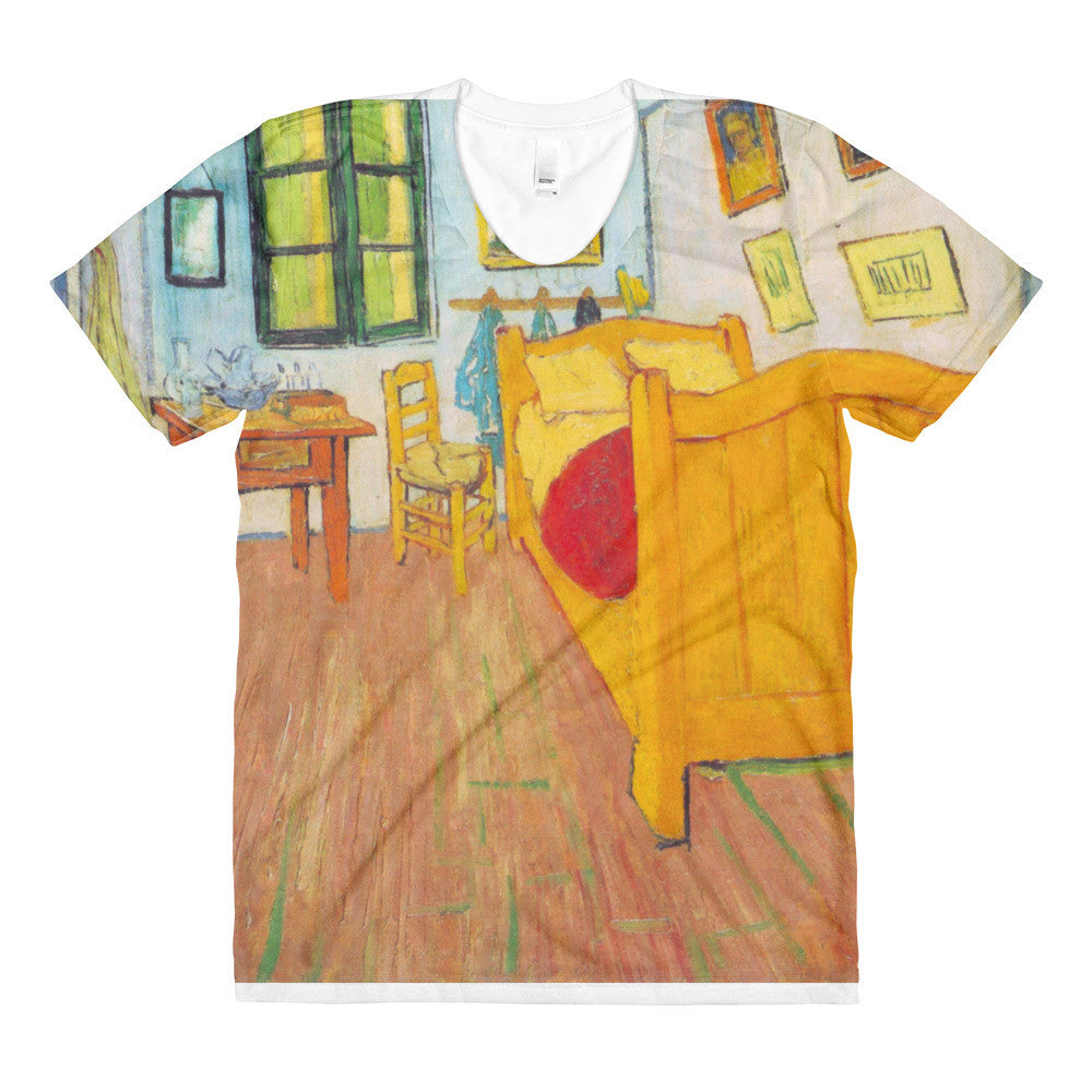 The bedroom in Arles. Saint-Remy by Van Gogh - Sublimation women's crew neck t-shirt - Vinteja Corporation