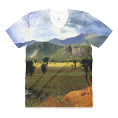Moat Mountain, Intervale, New Hampshire by Bierstadt - Sublimation women's crew neck t-shirt - Vinteja Corporation