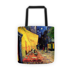 The Cafe Terrace on the Place du Forum Arles at Night - Tote bag - Vinteja Corporation