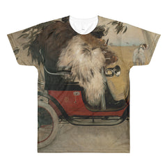 Ramon Casas - Ramon Casas in an Automobile - Sublimation men's crewneck t-shirt - Vinteja Corporation