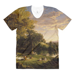 Thomas Cole - The Picnic - Sublimation women's crew neck t-shirt - Vinteja Corporation