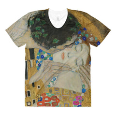 Klimt - The Kiss (detail) - Sublimation women's crew neck t-shirt - Vinteja Corporation