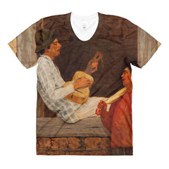 Almeida Junior - The Guitar Player - Sublimation women's crew neck t-shirt - Vinteja Corporation