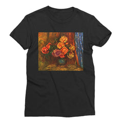 Still life roses before a blue curtain by Renoir - Women's Short Sleeve T-Shirt - Vinteja Corporation