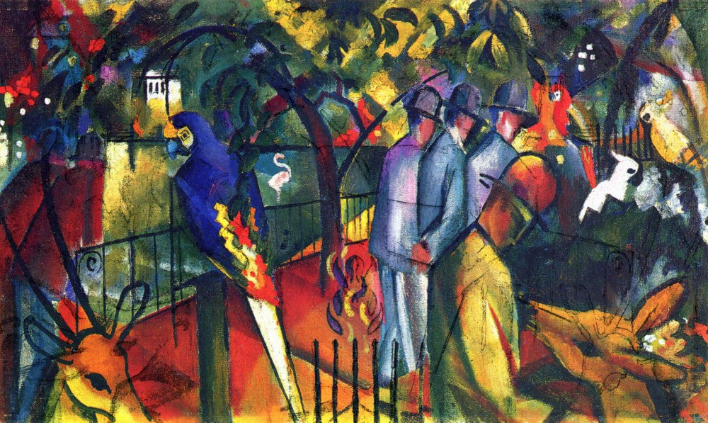 100% Hand Painted Oil on Canvas - zoological gardens by Macke