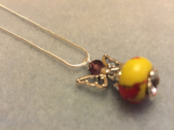 Angel Necklace, Red and Yellow