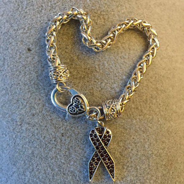 Bracelet with Dark Purple Ribbon Charm