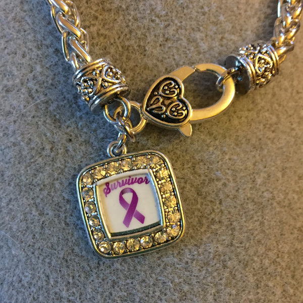Bracelet with Square Purple Ribbon Survivor Charm