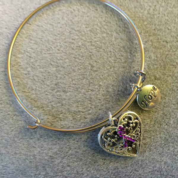 Bracelet with Filigree Heart and Hope Charm