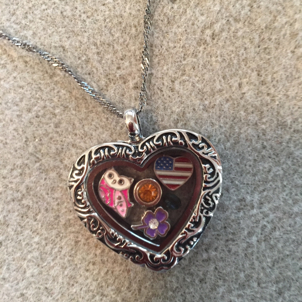 Filigree Heart Floating Charm Locket