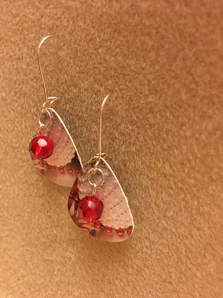 Guitar Pick Christmas Red Earrings
