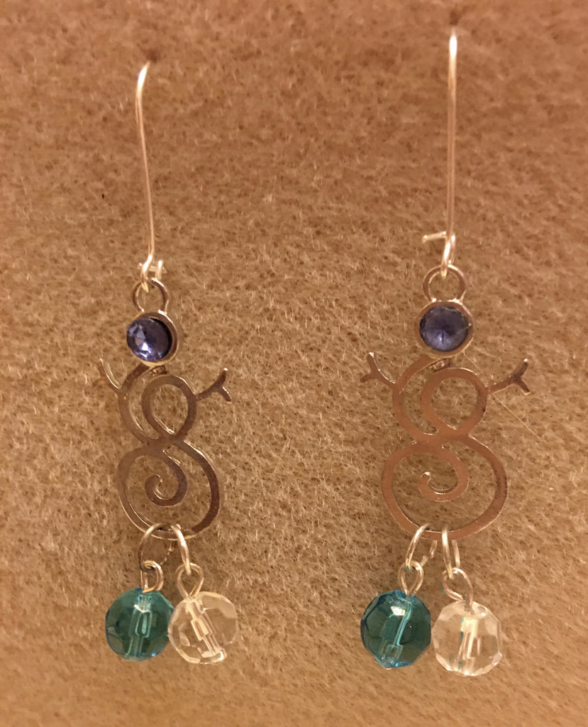 Snowman Earrings - Blue