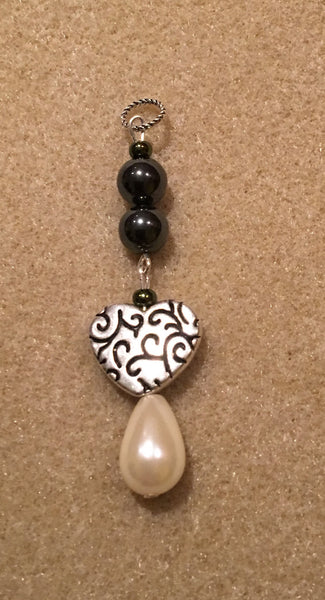 Pearl with Silver Heart Pendant
