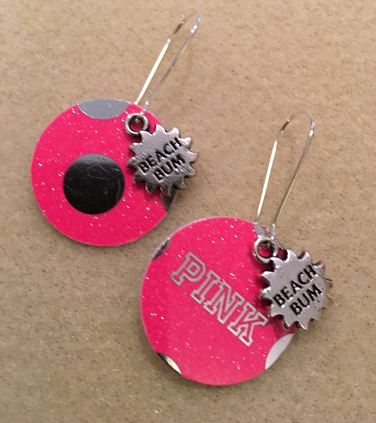 Beach Bum Charm Round Pink Earrings