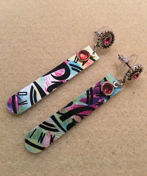 Pink Post Colorful Earrings