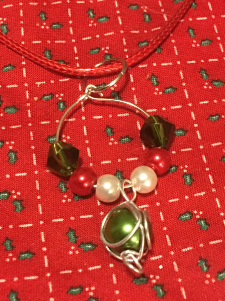 Christmas Green Wire Wrap Necklace