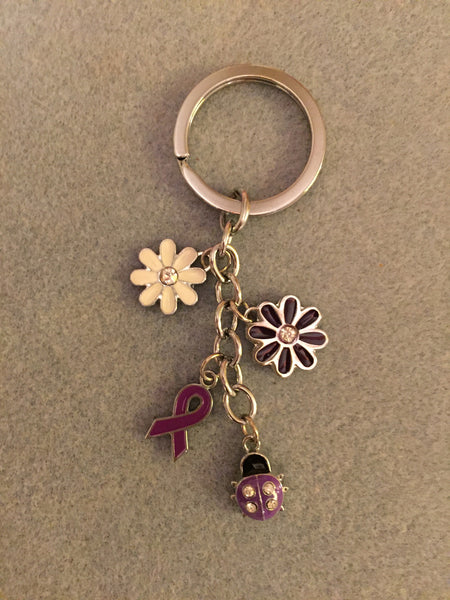Purple Ribbon and Lady Bug Key Chain