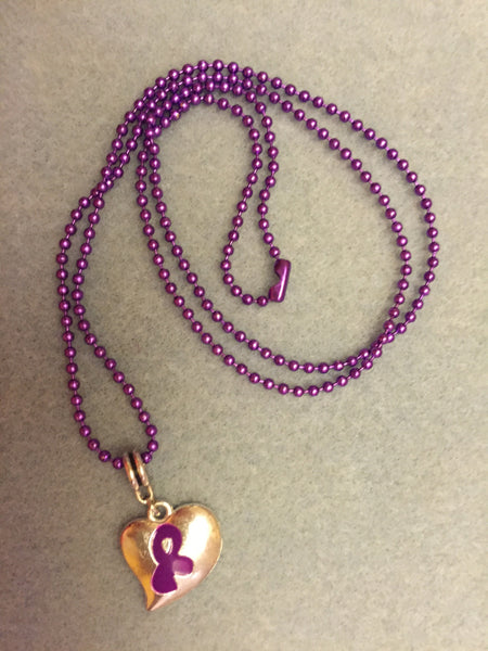 Puffy Charm on Purple Chain Necklaces (3)