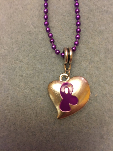 Puffy Charm on Purple Chain Necklaces