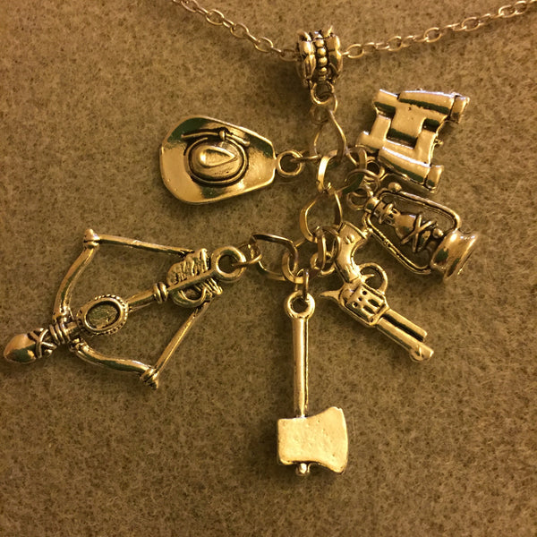 Walking Dead Necklace, Charm Holder with 6 Charms