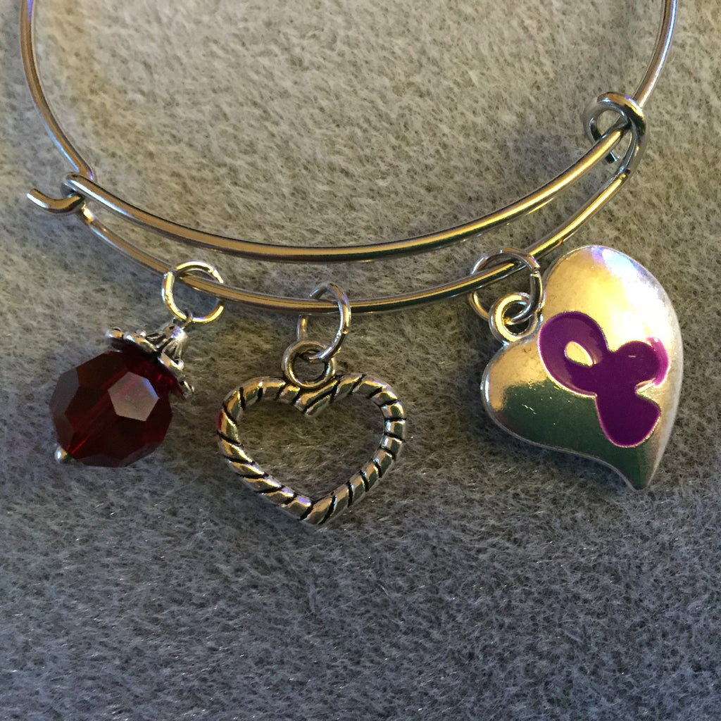 Bracelet with Puffy Heart Purple Ribbon