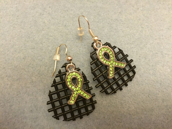 Waffle Earrings with Lime Ribbon