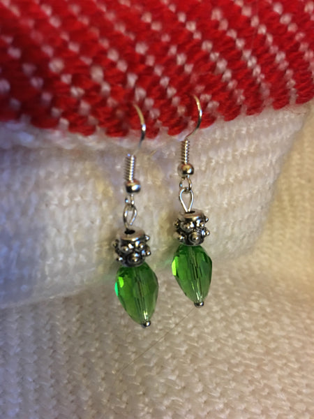 Green drop light bulb earrings