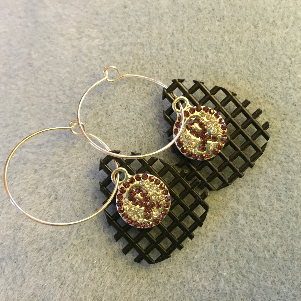 Hoop Waffle Earrings with a Purple Ribbon Sparkly Charm