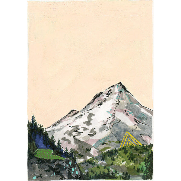mountain drawing with peach background