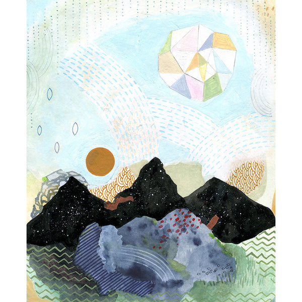 mixed media of mountains and blue sky