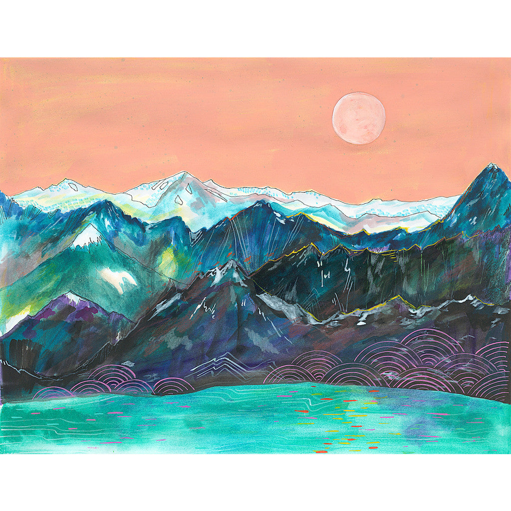 mountains and lake with pink sky