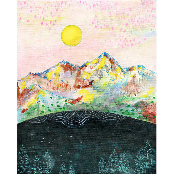 mountains with pink sky and sun