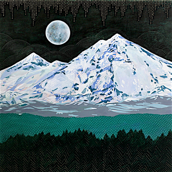 mountains with moon painting