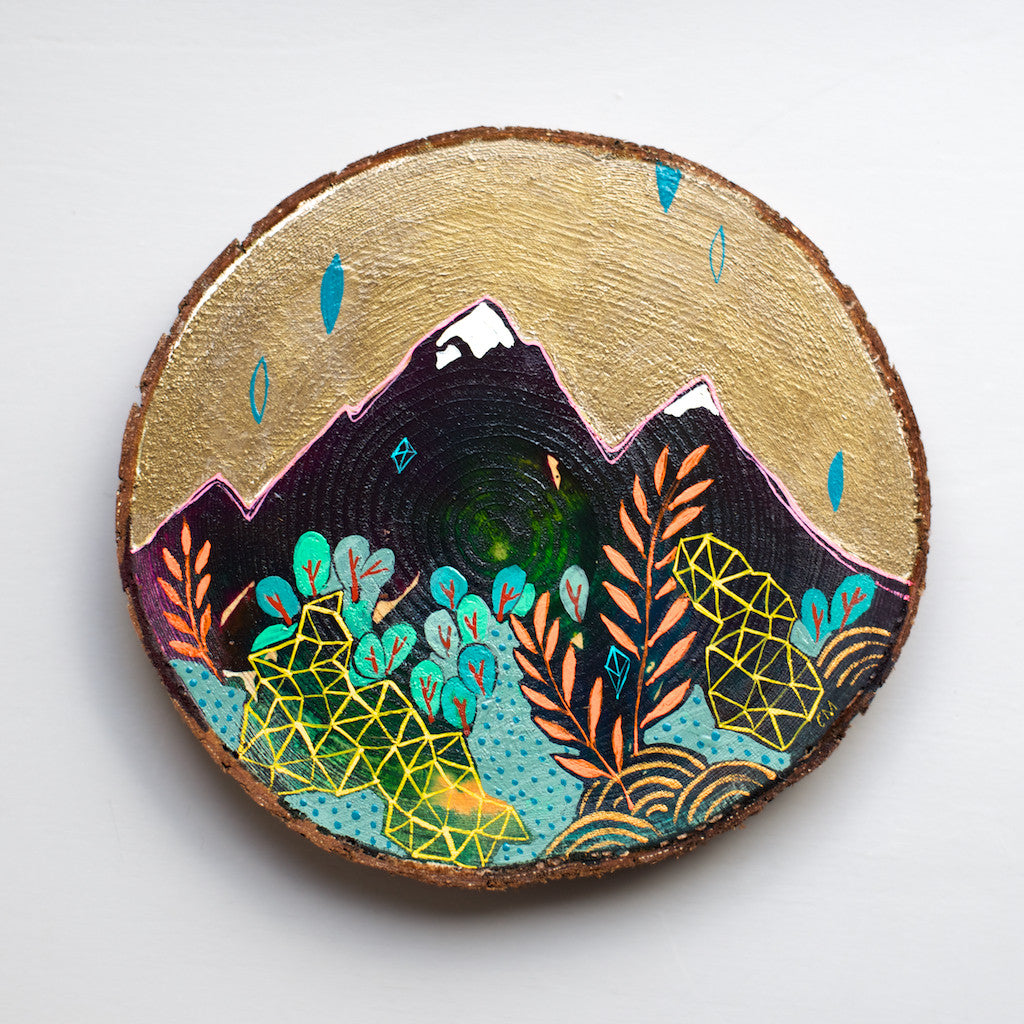 mini mountain painting on cedar round