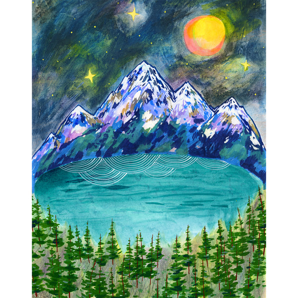 mountain lake forest night painting Cathy McMurray