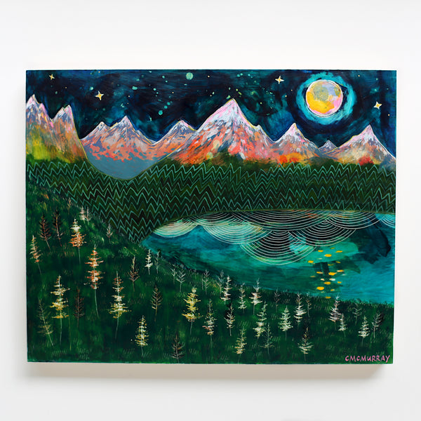 mountains night sky mixed media painting