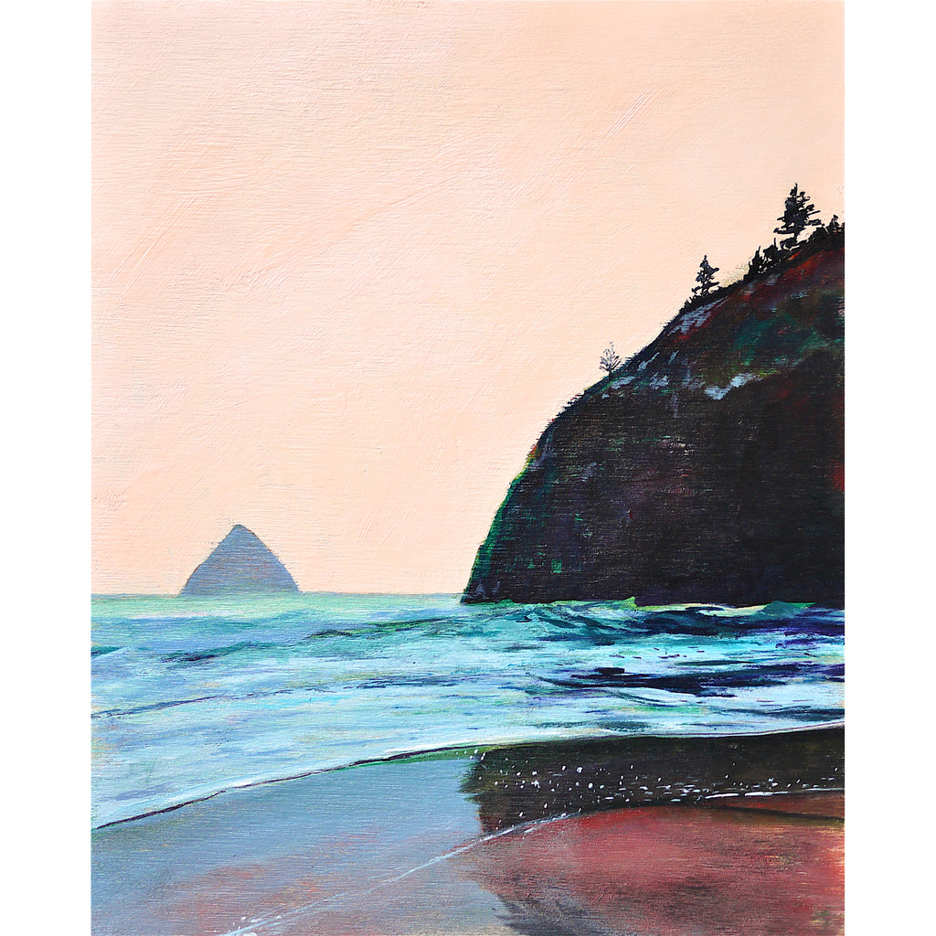 Oregon ocean beach scene with pink sky