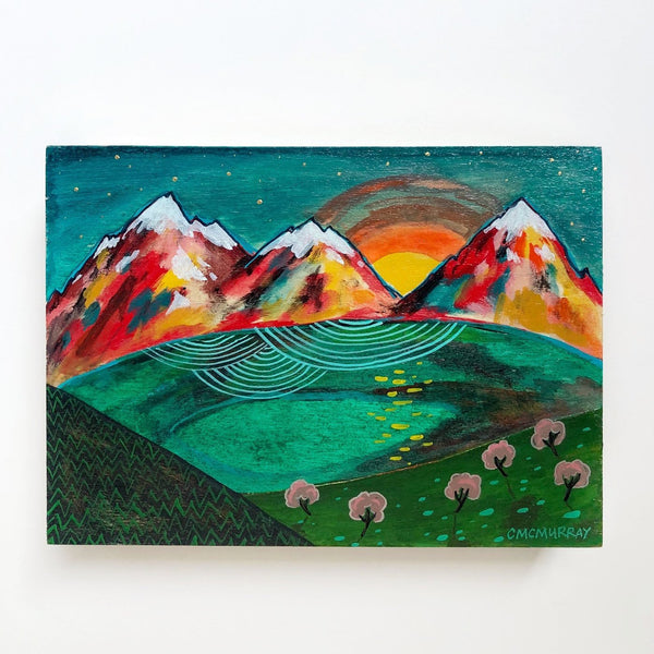 mountains painting sunset landscape cathy mcmurray