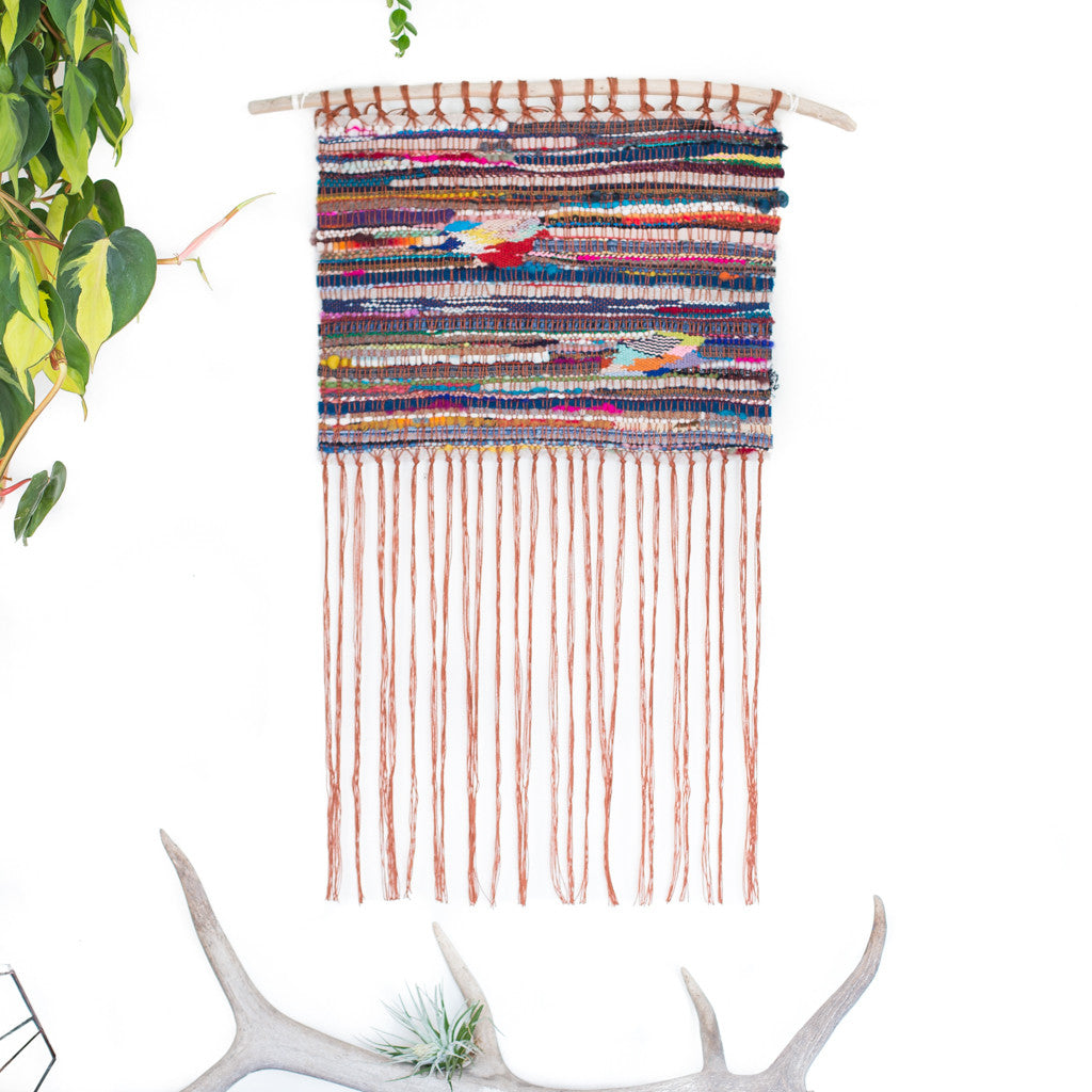colorul stripes handwoven wall hanging