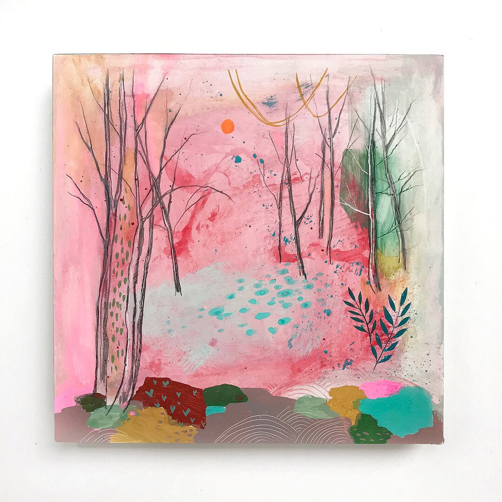 colorful pink spring painting of forest trees