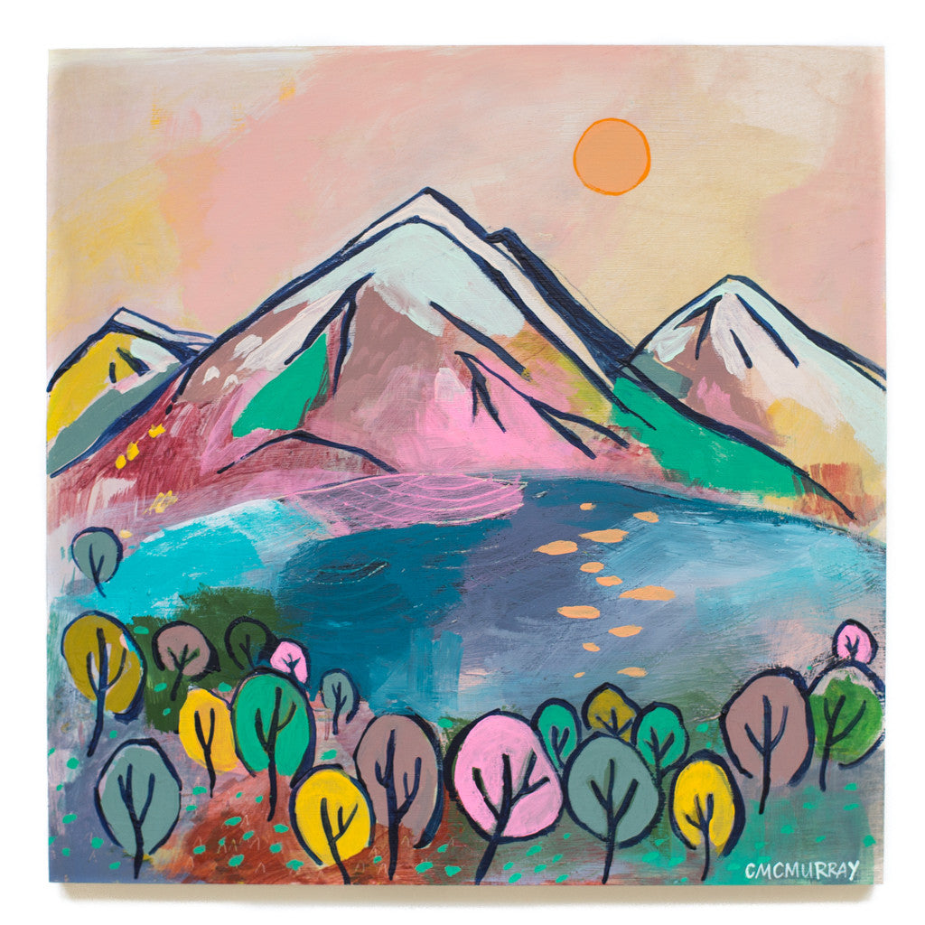 mountains spring colorful landscape painting