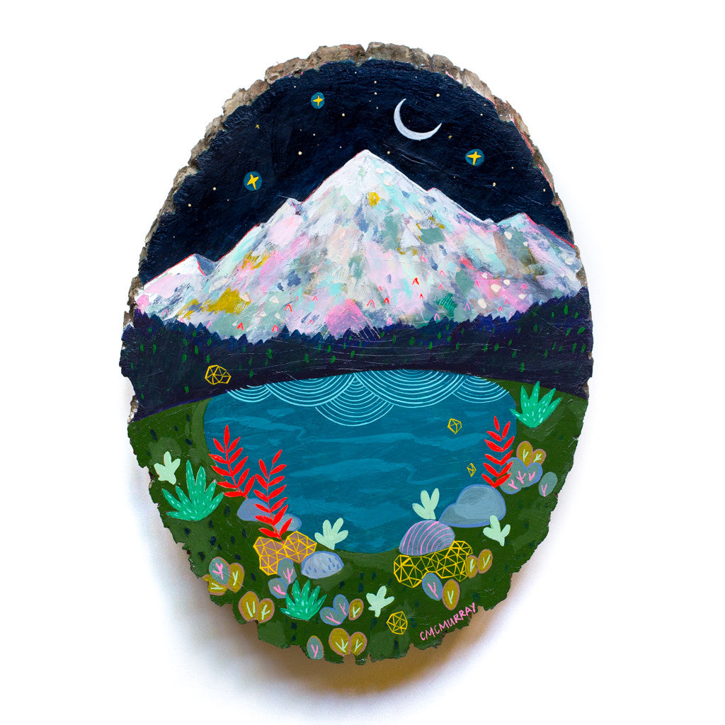 mountain lake painting on wood round