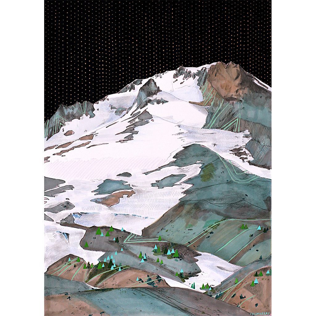 summit mountain art print mt hood cathy mcmurray