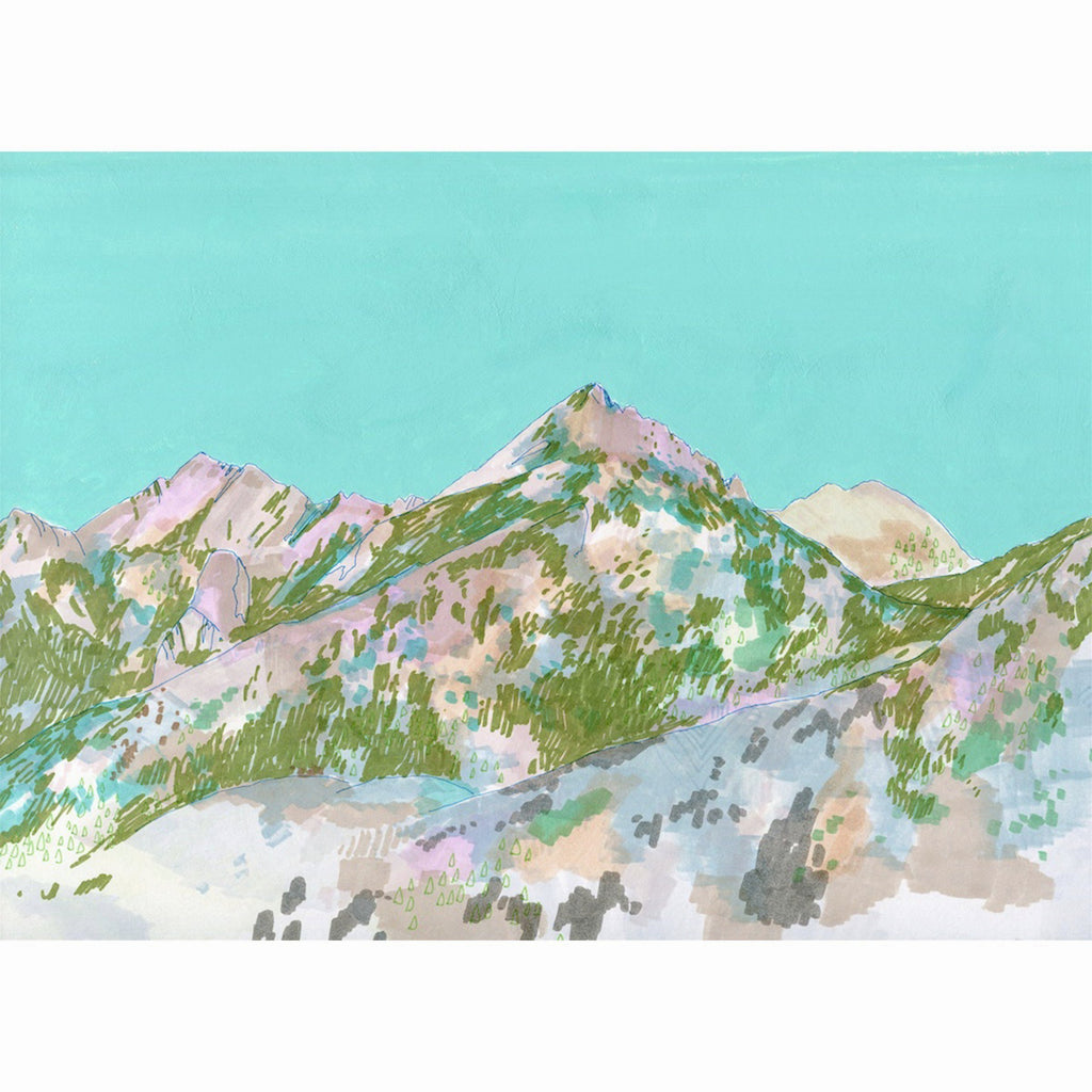 vista mountains turquoise mixed media art print cathy mcmurray